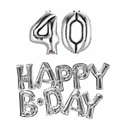 40th birthday party balloons supplies and decorations in Silver - 40th Birthday Decor