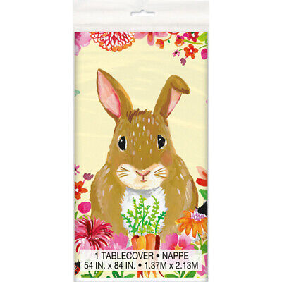 Bunny Birthday Party (EASTER Floral Bunny PLASTIC TABLE COVER ~ Birthday Party Supplies)