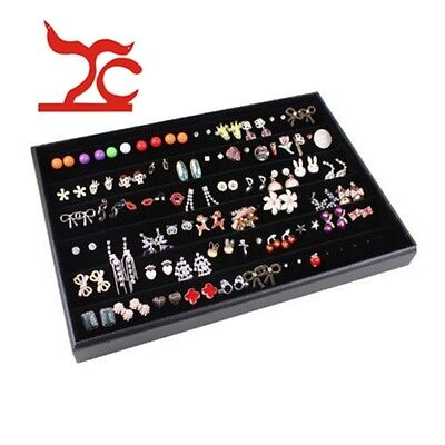 100 Slot Black Velvet Ring Jewelry Storage Display Box Tray Organizer Case