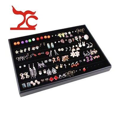 100 Slot Black Velvet Ring Jewelry Storage Display Box Tray Organizer Case