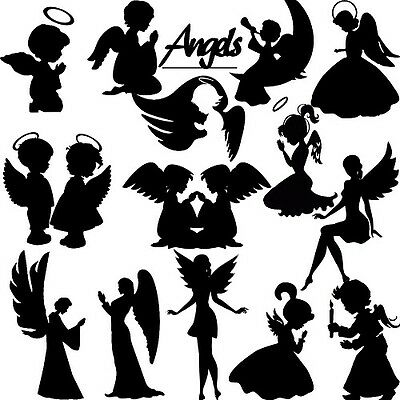 Die Cut Out Silhouette - Angel, topper x 15 card making, scrapbook, Fairy jar,