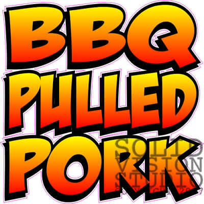 Bbq Pulled Pork Concession Food Truck Barbecue Sales Ad Vinyl Sticker Menu Decal