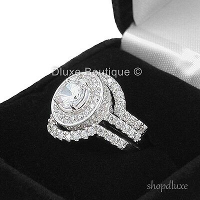 4.95 CT HALO ROUND CUT .925 STERLING SILVER WEDDING RING SET WOMEN'S SIZE 4-11 3