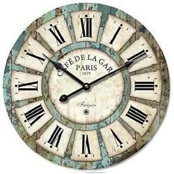 Eruner 14-Inch Vintage Wood Clock, French Countrycafe De La Gare Retro Style Non