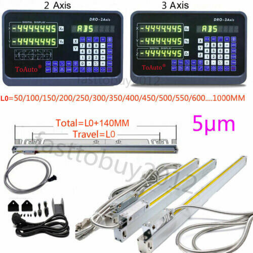2/3 Axis Digital Readout TTL 5um Linear Glass Scale DRO Display CNC Milling
