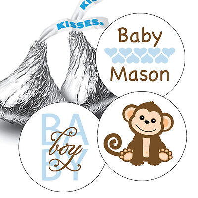 Monkey Baby Shower Decorations (108 Baby Boy Monkey Baby Shower Hershey Kiss Stickers Party Favors)