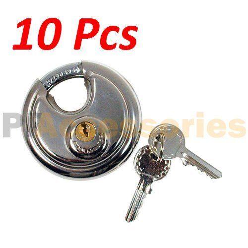 10x 70mm Heavy Duty Stainless Steel Armor Brass Cylinder Disc Padlock Round Lock