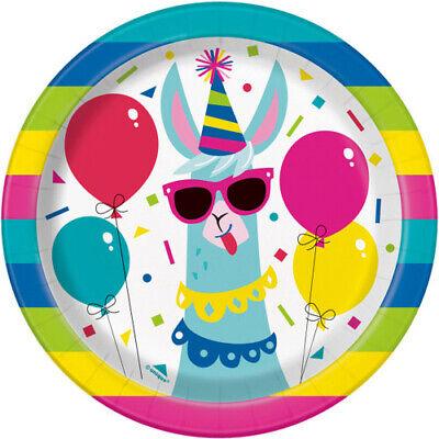 - LLAMA BIRTHDAY SMALL PAPER PLATES (8) ~ Party Supplies Cake Dessert Rainbow Cute