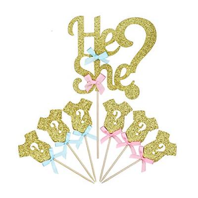 25 Pack Glitter Gender Reveal Cupcake Toppers Boy Or Girl Ba