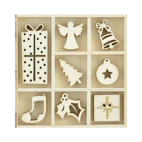 Kaisercraft Wooden Flourish packs / storage box 74 selections - Ornaments