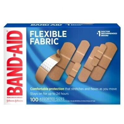 Band Aid Flexible Fabric Assorted Sizes 100 Pack Bandages *Dmgd Box