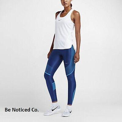 Nike Power Speed Women's Running Tights L Blue Gym Training Yoga New