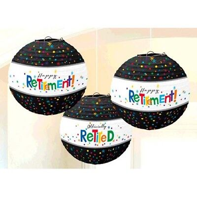 RETIREMENT PAPER LANTERNS (3) ~ Adult Birthday Party Supplies Hanging Decoration (Adult Birthday Party Supplies)