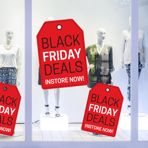 Black Friday Deals Tag Removable Window Self Cling Sticker / Shop / Sales