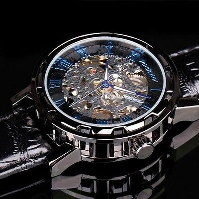 Infantry Mens Skeleton Mechanical Wrist Watch Steampunk Luxury Black Leather
