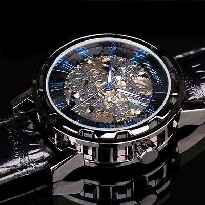 INFANTRY Mens Skeleton Mechanical Wrist Watch Steampunk Luxury Black Leather