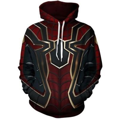 Spiderman Hoodie Mens (2018 Avengers Infinity War Spiderman  Hoodie Iron spider-man Coat Jacket)