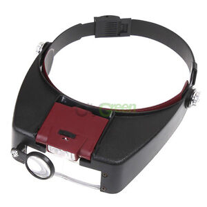 10X LED Head Headband Magnifier Magnifying Glasses Loupe Watch with 2 LED Light