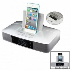 Capello Stereo FM Dual Alarm Clock Radio w/Lightning Dock for iPhone 5/5S/6/6S