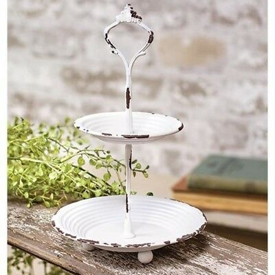 Farmhouse Chippy White 2 Tiered ROUND Tray Candy Dish Cottage Chic Shabby 9.25T