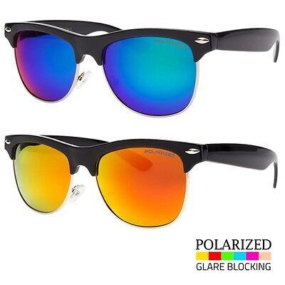 Polarized Retro Sunglasses Mens Womens Vintage Color Lens Metal Half Frame