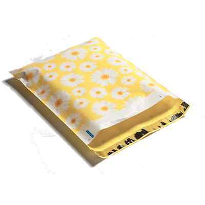 100 10x13 Yellow Daisy Designer Mailers Poly Shipping Envelopes Boutique Bags