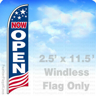 NOW OPEN - WINDLESS Swooper Feather Flag 2.5x11.5' Banner Sign - USA - Flag Banner
