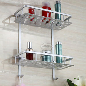 wall mounted shower shelf hanger bathroom storage rack. Black Bedroom Furniture Sets. Home Design Ideas