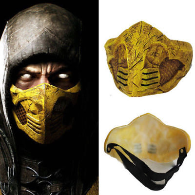 US!Adult Mortal Kombat X PVC Mask Cosplay Scorpion Halloween Party Costume Hot - Mortal Kombat Halloween Costumes