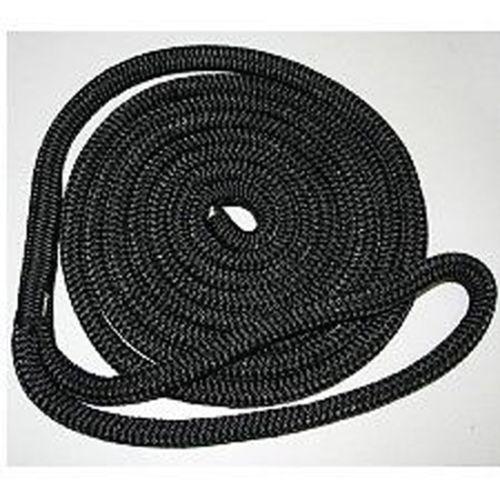 """1/2"""" X 30' - BOAT DOCK LINE ROPE - BLACK - PREMIUM DOUBLE BRAIDED / LOOP"""