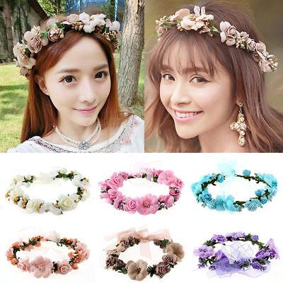 Girl Crown Floral Rose Flower Headband Hairband Wedding Hair Garland Headpiece H](Flower Headpiece)