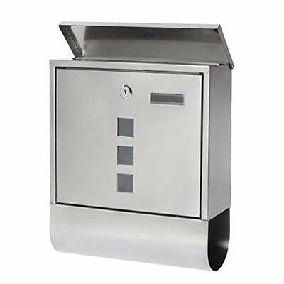 Stainless Steel Mailboxes with Key Lock, Wall Mounted Large Capacity Mailbox wit
