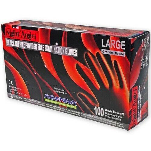 Adenna Night Angel Nitrile Black Powder Free Exam Glove, Box of 100