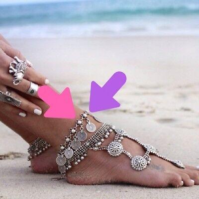 Silver Ankle Bracelet Coin Jingle Discs 9 Inch Bohemian Beachy Anklet  ()
