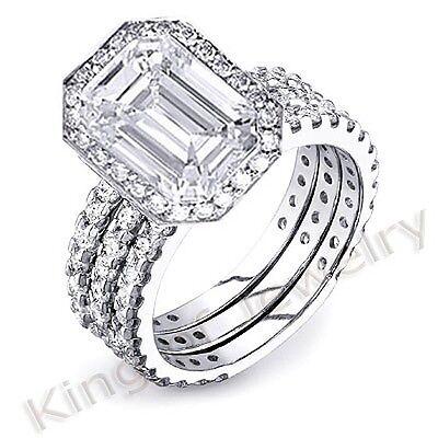 3.50 Ct Emerald Cut Diamond Engagement Ring w/ 2 Diamond Wedding Bands I,VS1 GIA