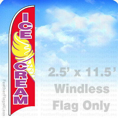 Ice Cream - Windless Swooper Feather Flag Banner Sign 2.5x11.5 - Rb