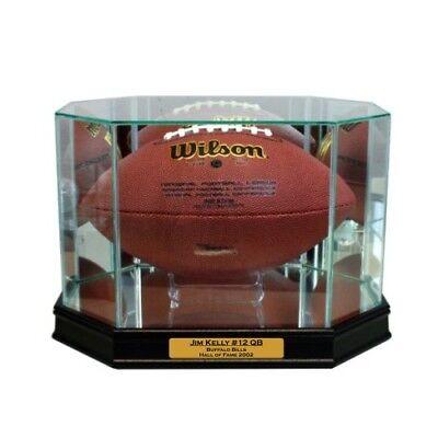 (New Jim Kelly Buffalo Bills Glass and Mirror Football Display Case UV)