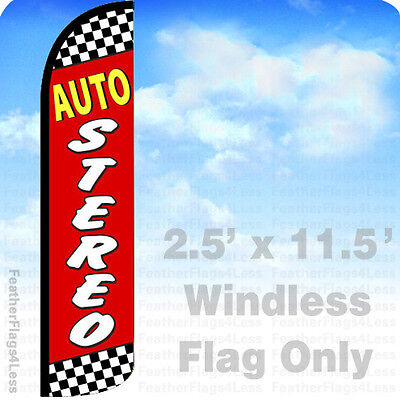 Auto Stereo Windless Swooper Flag Feather Banner Sign 2.5x11.5 Rz