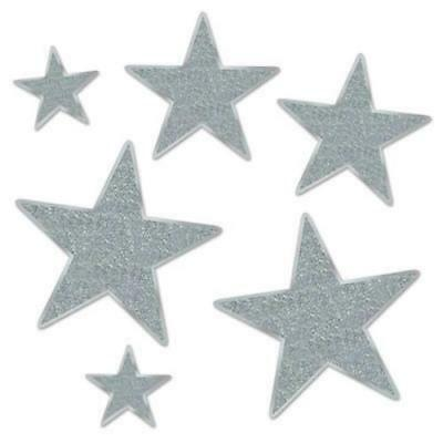 Beistle Glittered Foil Silver Sparkle Star Cutouts Party Decorations - Foil Star Cutouts