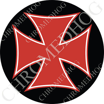 3 Crosses (Premium Round 3M Epoxy Gel Domed Decal or Flat Sticker - Red Iron Cross)