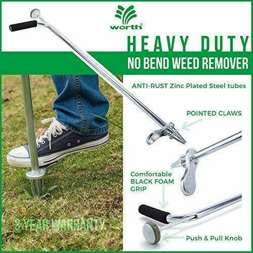 Worth Garden Stand-Up Weeder and Root Removal Tool - Ergonomic Weed Puller
