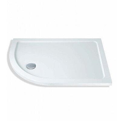MX Elements 1200x760mm Offset Quadrant Slim Stone Resin Shower Tray & -