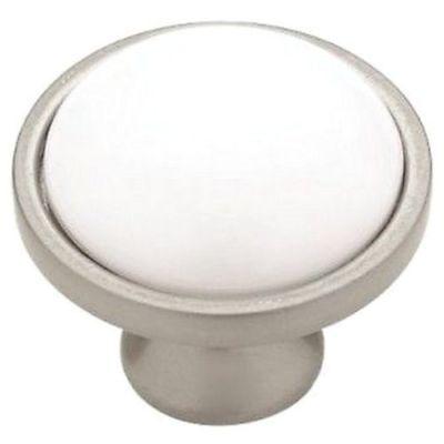 Nickel Knob White Ceramic Round Kitchen Cabinet Dresser Hardware