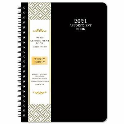 2021 Daily Appointment Book Planner Dailyhourly Planner 6.4 X 8.5 Black New