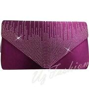 Purple Satin Clutch Bag