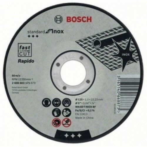 "Bosch 115mm (4.5"") x 22.23 x 1mm Thin Metal Inox Fast Cutting Disc - 100 DISCS"