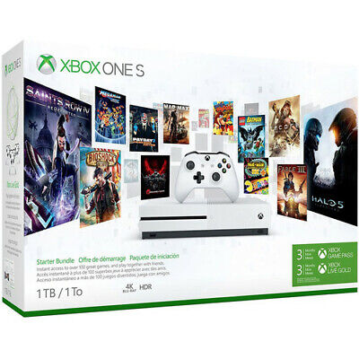 NEW Microsoft Xbox One S 1TB Starter Bundle 3 Months Game Pass & Live Gold