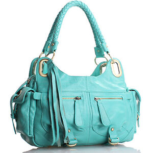 Aqua-Blue-Italian-Leather-Handbag-Purse-Hobo-Bag-Satchel-Tote-Clutch