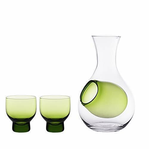 Japanese Cold Sake Glass Decanter Bottle 12 fl oz Sake Set (Green Set)