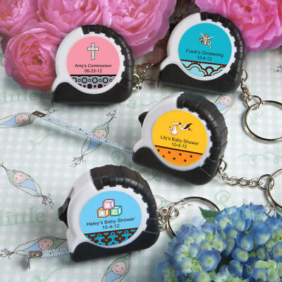 50-250 Personalized Key Chain / Measuring Tape - Baby Shower Baptism Party Favor - Personalized Keychains Bulk